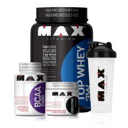 Combo Top Whey 3W (900g) + bcaa 100 capsulas + creatina 150g + coqueteleira gratis - Max Titanium