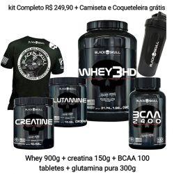 Combo WHEY 3HD 900 g + BCAA 2400 100 cápsulas + CREATINA 150g + Glutamina 300g + camiseta gratis + coqueteleira gratis