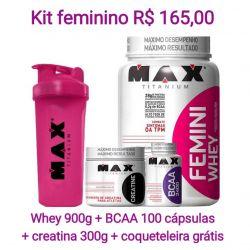Combo FEMINI WHEY (900G)  + creatina 150g + bcaa 100 capsulas  + coqueteleira gratis