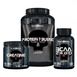 kit Protein 7 Blend (837g) + creatina 150g + bcaa 100 tabletes - Black Skull