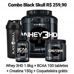 Whey 3HD (1.8kg) Caveira Preta Series + creatina 150g + bcaa 100 tabletes + coqueteleira gratis   - Black Skull