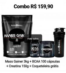 Combo Engorda Rápido Refil  Mass Gainer (3Kg) + bcaa 100 tabletes + creatina 150g - Black Skull